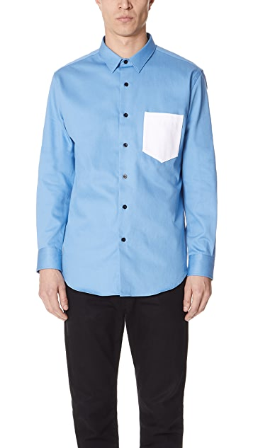 AMI Summer Fit Shirt with Contrast Pocket