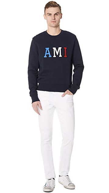 AMI Patched AMI Letter Crew Neck Sweatshirt