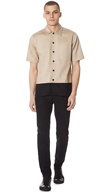 AMI Short Sleeve Colorblock Shirt