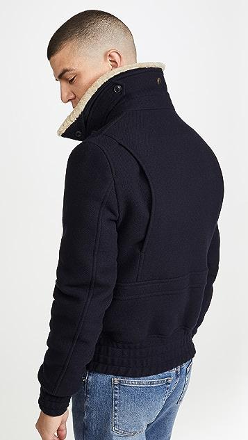 AMI Wool Aviator Jacket with Fur Collar