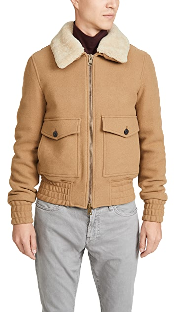 AMI Wool Aviator Jacket With Fur Collar