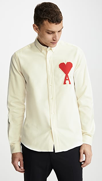 AMI Big Heart Patch Button Down Shirt
