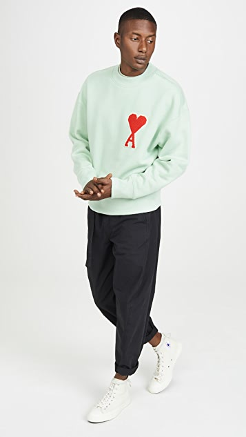 AMI Big Heart Patch Crew Neck Sweatshirt