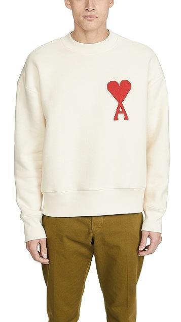 AMI Big Heart Patch Crew Neck Sweatshirt