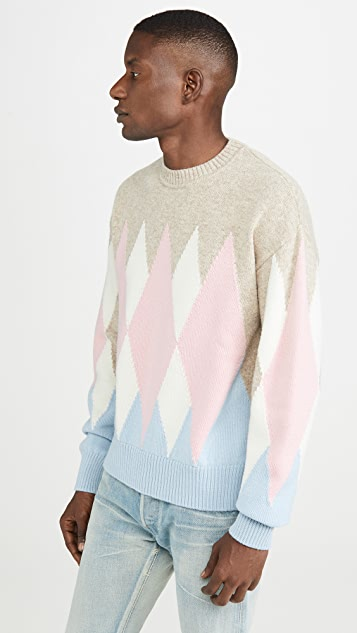 AMI Argyle Crew Neck Sweater