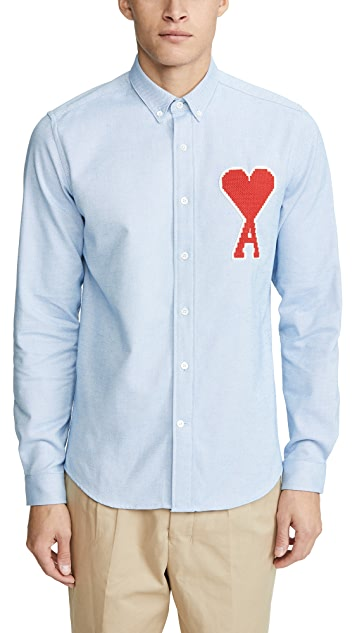 AMI AMI Big Logo Button Down Shirt