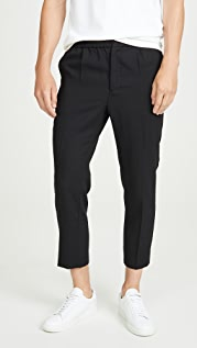 AMI Pantalon Cropped Pants with Elastic Waist