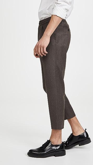 AMI Elastic Waist Virgin Wool Trousers