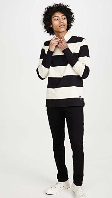 AMI Long Sleeve Striped Rugby Shirt