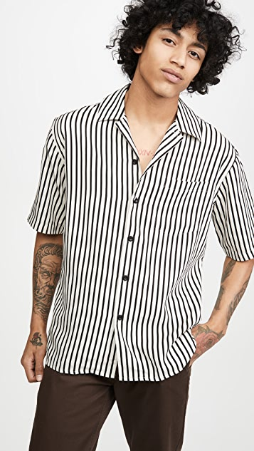 AMI Short Sleeve Camp Collar Shirt