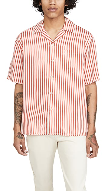 AMI Short Sleeve Camp Collar Shirt