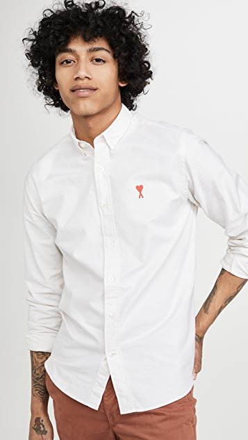 AMI Long Sleeve Ami Heart Oxford Shirt
