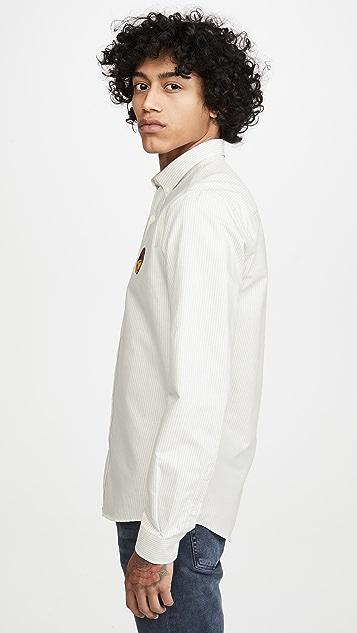 AMI Ami Heart Logo Striped Oxford Shirt