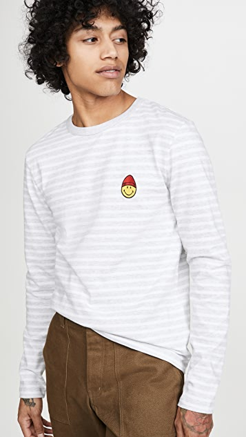 AMI Striped Long Sleeve Smiley T-Shirt