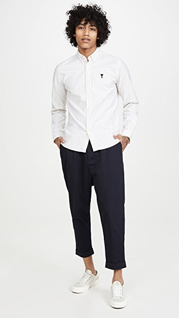 AMI Long Sleeve Pinstripe Shirt
