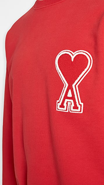 AMI Big AMI Heart Logo Crew Neck Sweatshirt