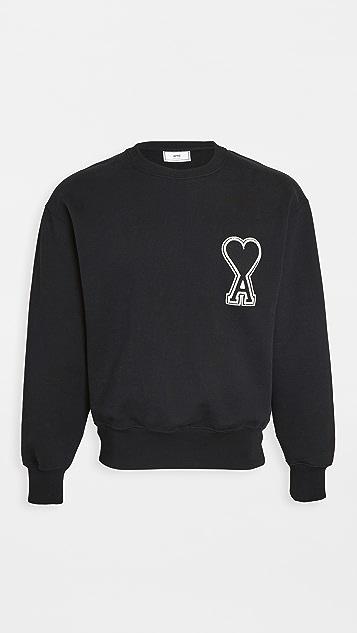 AMI Big AMI Heart Logo Crew Neck Sweatshirt