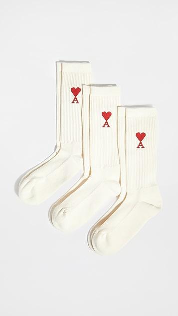 AMI 3 Pack Heart Socks