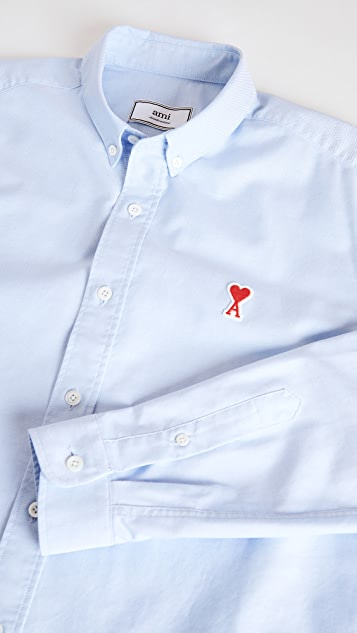 AMI Small AMI Heart Logo Button Down Oxford