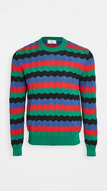 AMI Multi Color Plaid Striped Sweater