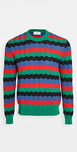 AMI - Multi Color Plaid Striped Sweater