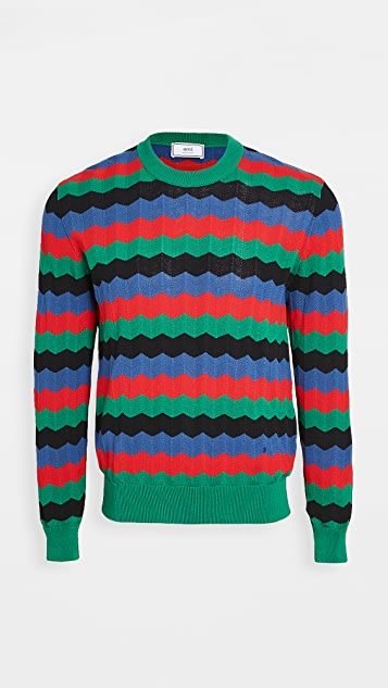 AMI Multi Color Plaid Striped Sweater