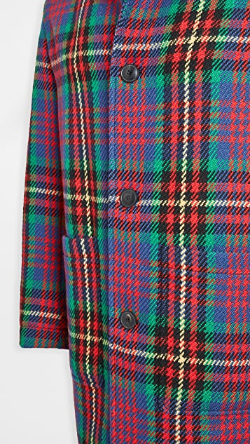 AMI Multi Color Plaid Wool Topcoat