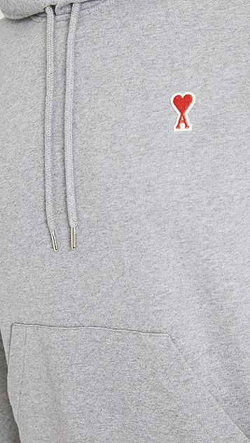 AMI Small AMI Heart Logo Pullover Hoodie