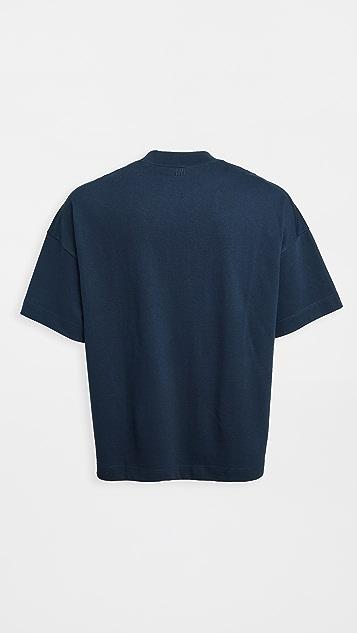 AMI Tonal Big Heart Relaxed Fit Tee Shirt
