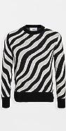 AMI Mohair Zebra Stripe Crew Neck Sweater