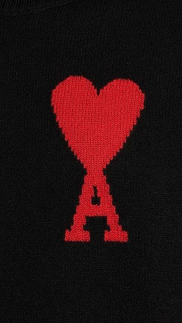 AMI Wool Big Heart Turtleneck Sweater