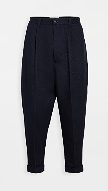 AMI Wool Carrot Fit Trousers