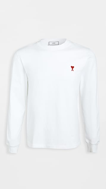 AMI Heart Embroidered Long Sleeve T Shirt