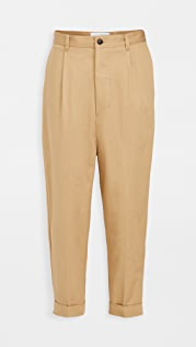 AMI Cotton Oversized Carrot Fit Trousers