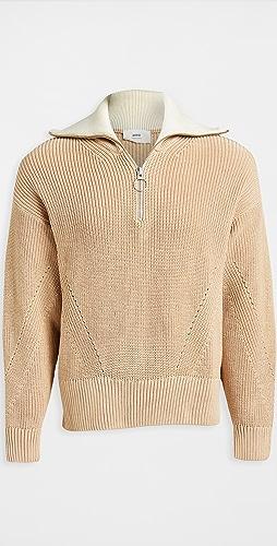 AMI - Zipped Collar Boxy Sweater
