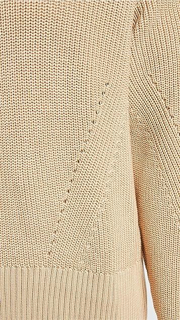 AMI Zipped Collar Boxy Sweater