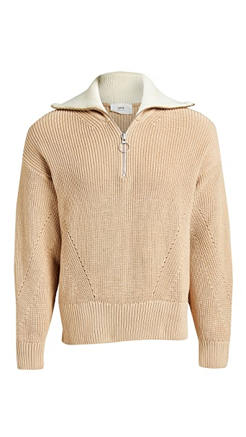 AMI Zipped Collar Boxy Sweater