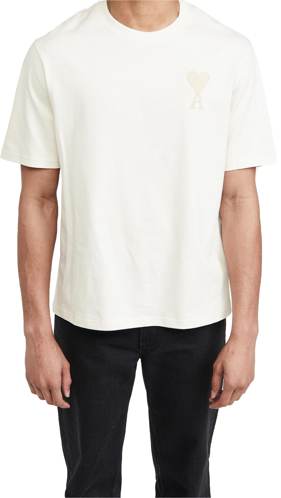 Ami Alexandre Mattiussi Ami De Coeur T-shirt In Off-white