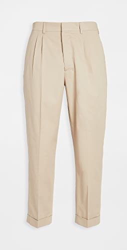 AMI - Cotton Carrot Fit Pleated Trousers
