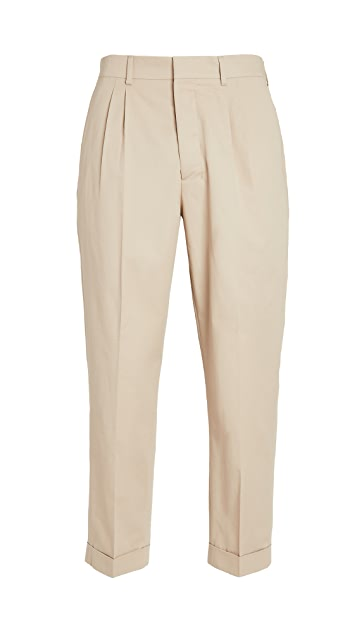 AMI Cotton Carrot Fit Pleated Trousers