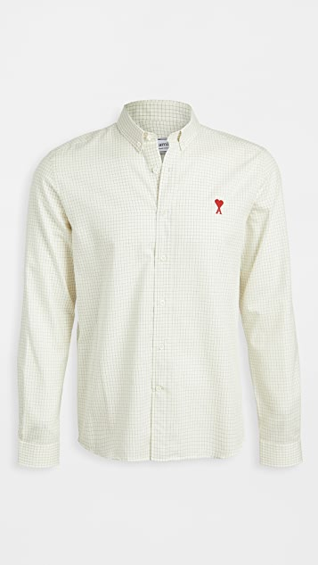AMI Button Down AMI De Coeur Checked Shirt