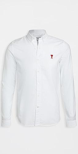 AMI - Button Down AMI de Coeur Patch Oxford Shirt