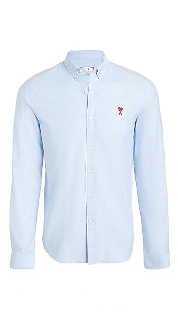 AMI Button Down AMI De Coeur Patch Oxford Shirt