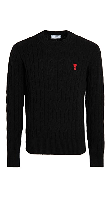 AMI AMI Embroidered Cable Stitched Sweater