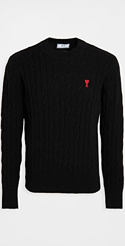 AMI - AMI Embroidered Cable Stitched Sweater