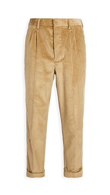 AMI Pleated Carrot Fit Corduroy Trousers