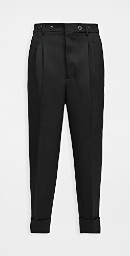 AMI - Pleated Carrot Fit Wool Trousers