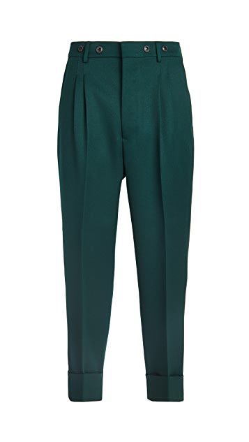 AMI Pleated Carrot Fit Wool Trousers