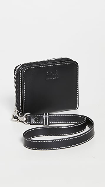 AMI Compact Wallet with Leather Strap