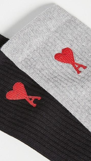 AMI Three-Pack Ami De Coeur Crew Socks